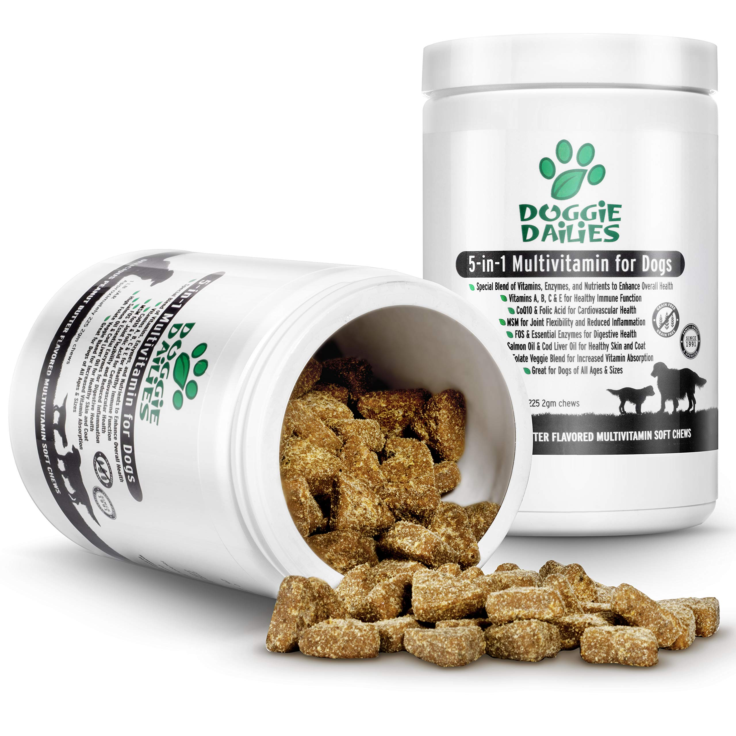 Doggie Dailies 5 in 1 Multivitamin for Dogs, 225 Soft Chews, Grain Free Dog Multivitamin for Skin and Coat Health, Joint Health, Improved Digestion, Heart Health and Enhanced Immunity, Made in the USA by Doggie Dailies