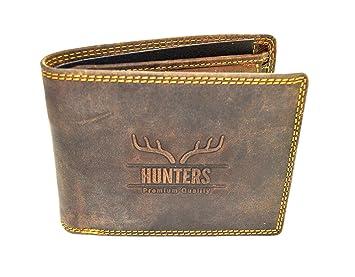 922d2926e9cd6 Hunters Leder Geldbeutel Wild Büffel Leder-Geldbörse Natural Hunter Leder  Herren Portemonnaie Herren Geldbeutel