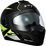 Vega Ryker Bolder Full Face Helmet (Dull Black/Neon Yellow, M)