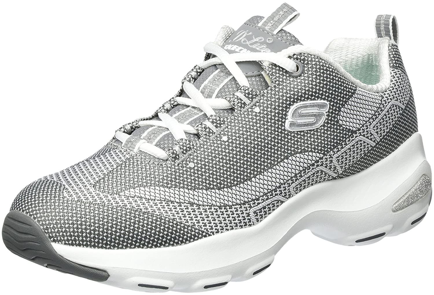 Skechers Women's Dlite Ultra Sneaker B01MS3SOY0 6.5 B(M) US|Gray White