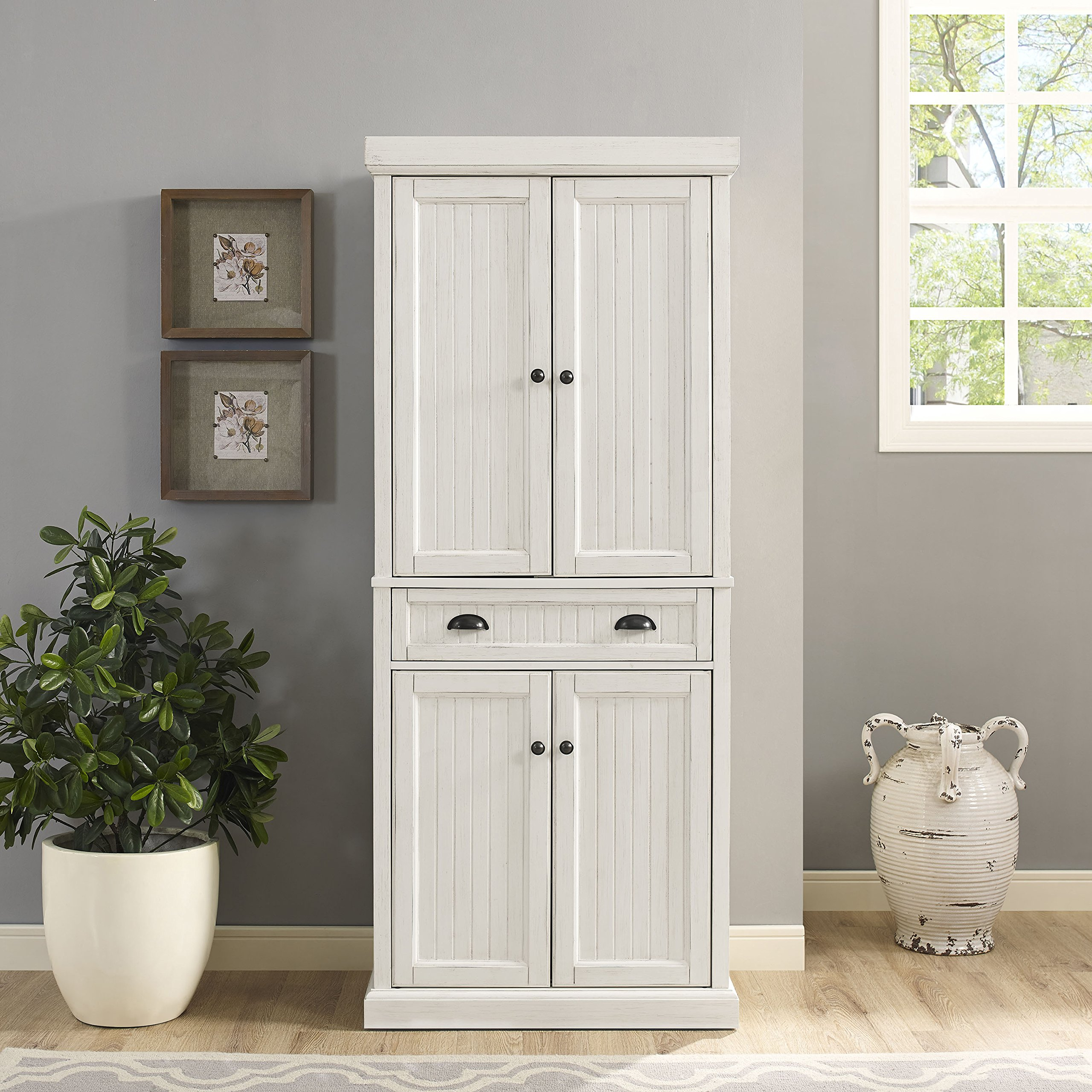 Crosley Furniture Seaside Kitchen Pantry Cabinet - Distressed White by Crosley Furniture (Image #7)