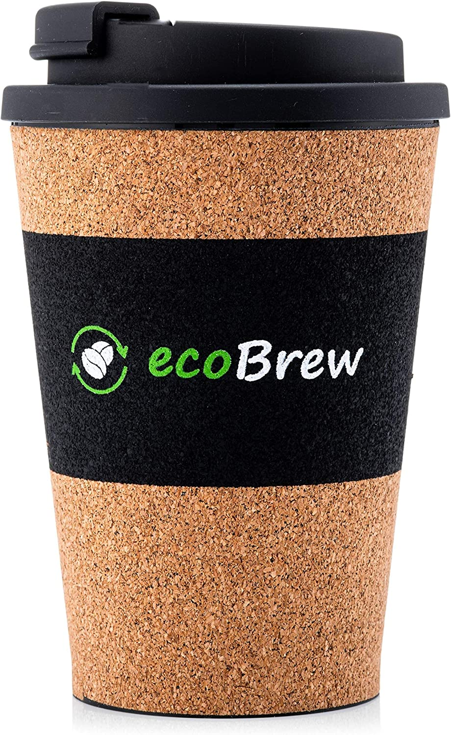 ecoBrew Bio Reusable Coffee Cup | Leakproof Screw On Lid | Biodegradable, Portable & Dishwasher Safe | Made with Cork, Eco Friendly Travel Mug | Ideal