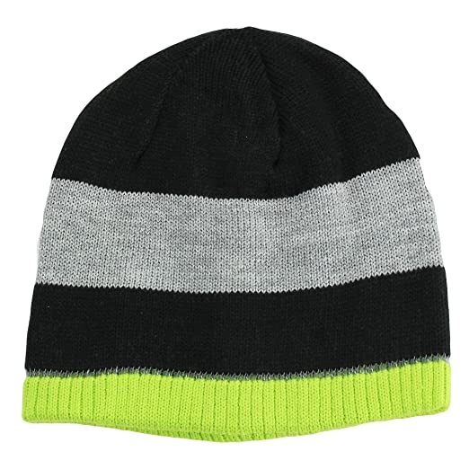 0e1b7fdf277 Amazon.com  Nolan Boys Striped Beanie Hat Reversible Winter Hat Black    Lime Size 4-14  Clothing