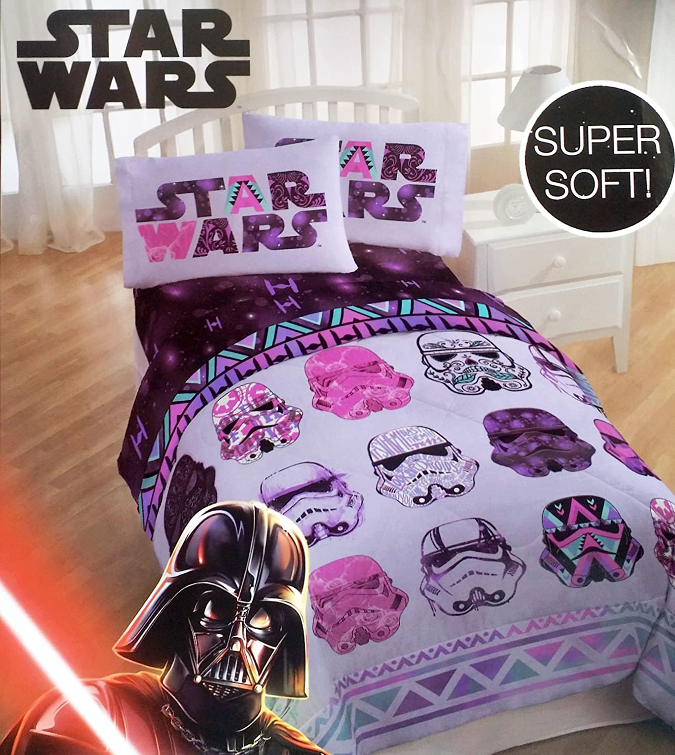 star wars bedroom set. Amazon com  Star Wars Girls 4 Piece Bedding Set Reversible Comforter and Sheets Twin Size Home Kitchen