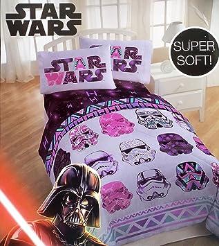Amazoncom Star Wars Girls 4 Piece Bedding Set Reversible Comforter