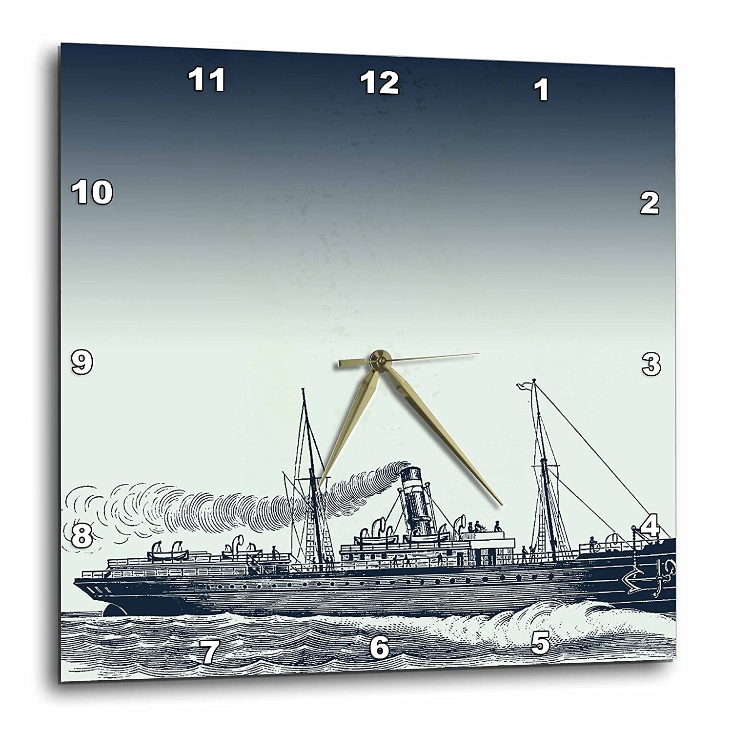 3dRose dpp/_155877/_3 Blue Vintage Ship Nautical Theme Art-Wall Clock 15 by 15-Inch