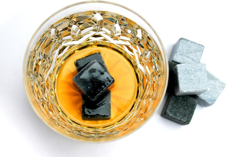 Compra On The Rocks - Juego de Whisky piedras regalo | 9 rocas hieio | (Basalto, Esteatita natural y elegante caja de madera | pinzas y bolsa de terciopelo) en Amazon.es