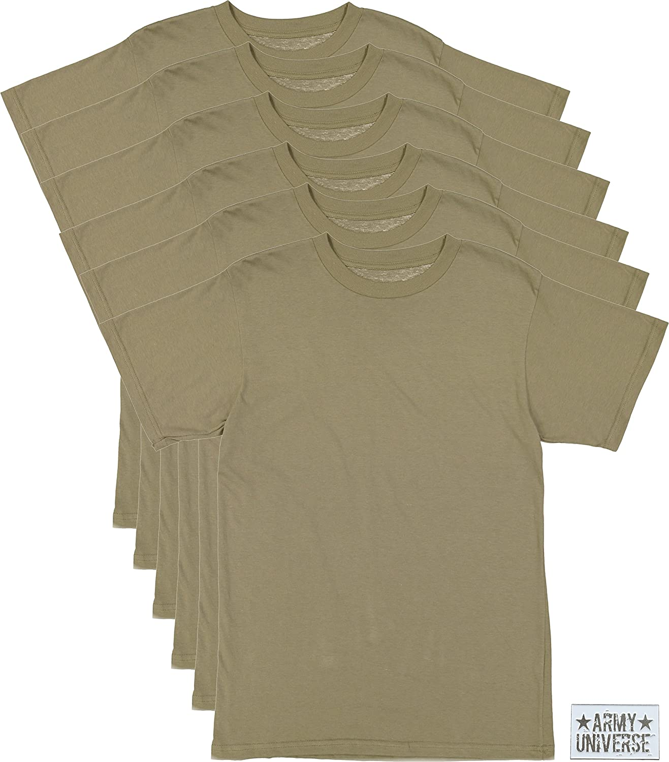 Amazon.com  6 Pack - AR 670-1 Army Compliant Coyote Brown Mens Military T- Shirt Poly Cotton Multicam OCP Scorpion Uniform Approved  Clothing d50bb125a86