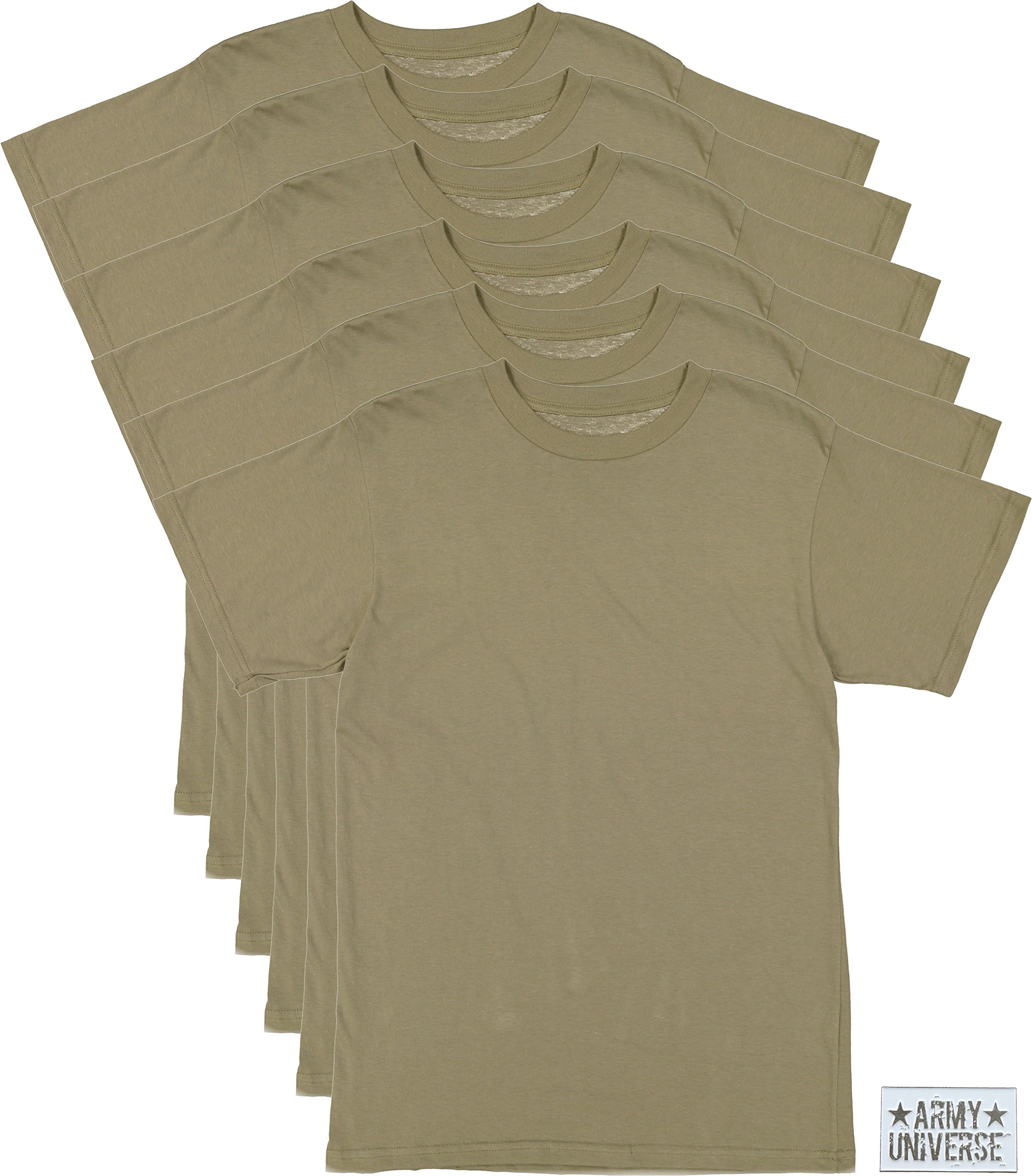 6 Pack - AR 670-1 Army Compliant Coyote Brown Mens Military T-Shirt Poly Cotton Multicam OCP Scorpion Uniform Approved (Small/33-37'')