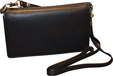fa6ad4301d03 Pielino Women s Genuine Leather Smart Phone Crossbody Wallet With Shoulder  Strap (Black)