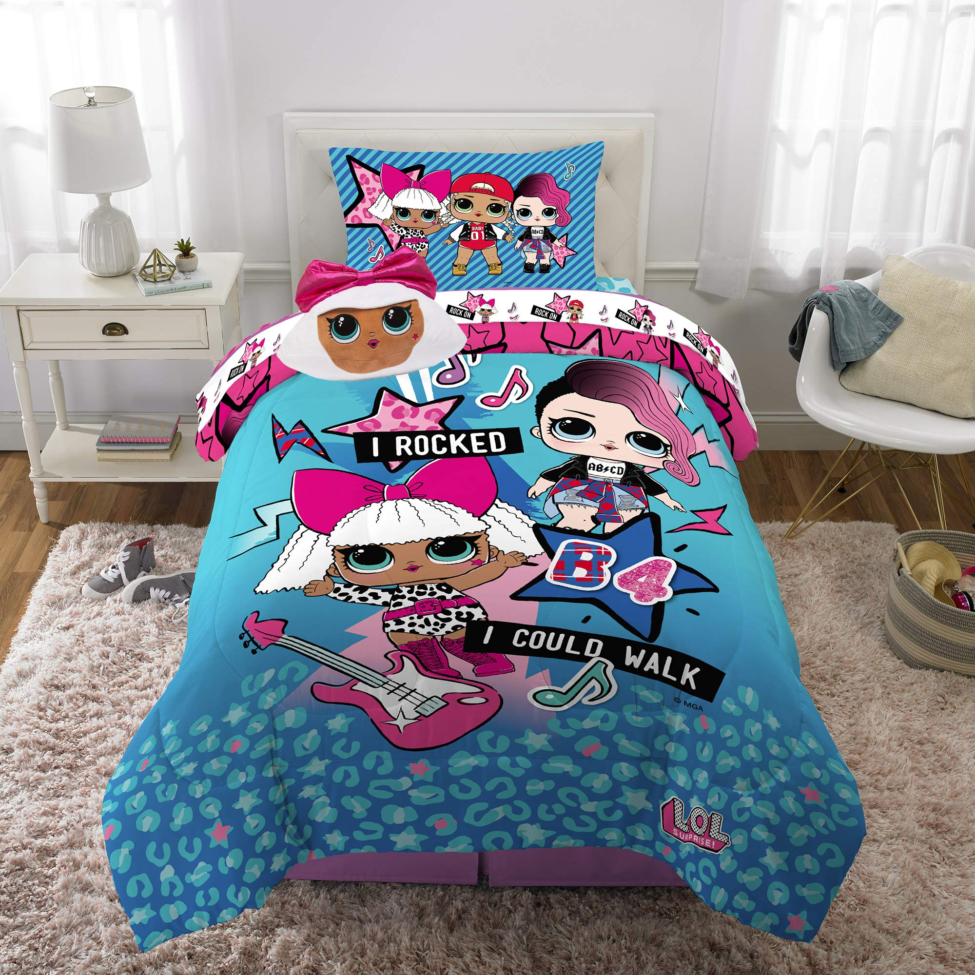 """LOL SURPRISE SINGLE BED /& 66/"""" X 54/"""" CURTAINS SET GLAM DOLLS PINK REVERSIBLE GIRL"""