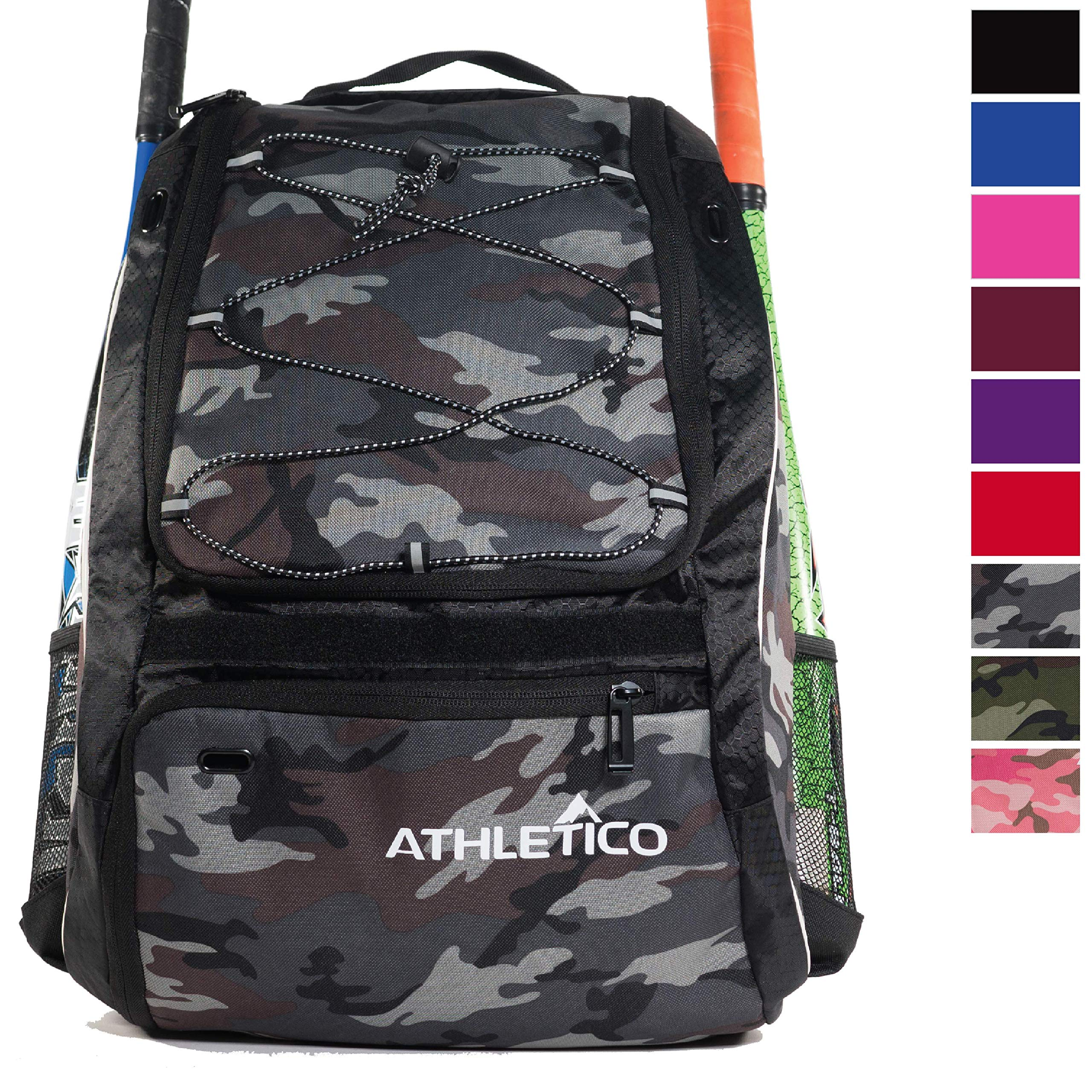 Athletico Baseball Bat Bag - Backpack for Baseball, T-Ball & Softball Equipment & Gear for Youth and Adults | Holds Bat, Helmet, Glove, Shoes |Shoe Compartment & Fence Hook (Gray Camo) by Athletico