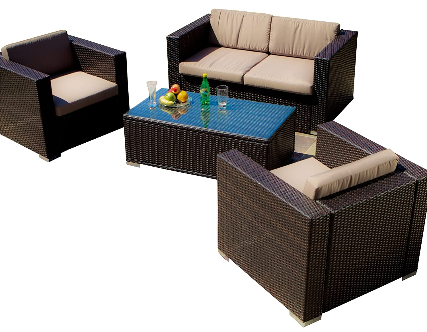 Amazon.com : Best Selling Venice PE Wicker 4 Piece Outdoor Sofa Set : Patio  Sofas : Garden U0026 Outdoor