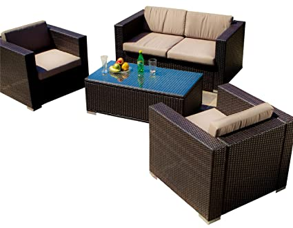 Amazon.com : Best Selling Venice PE Wicker 4-Piece Outdoor Sofa Set ...