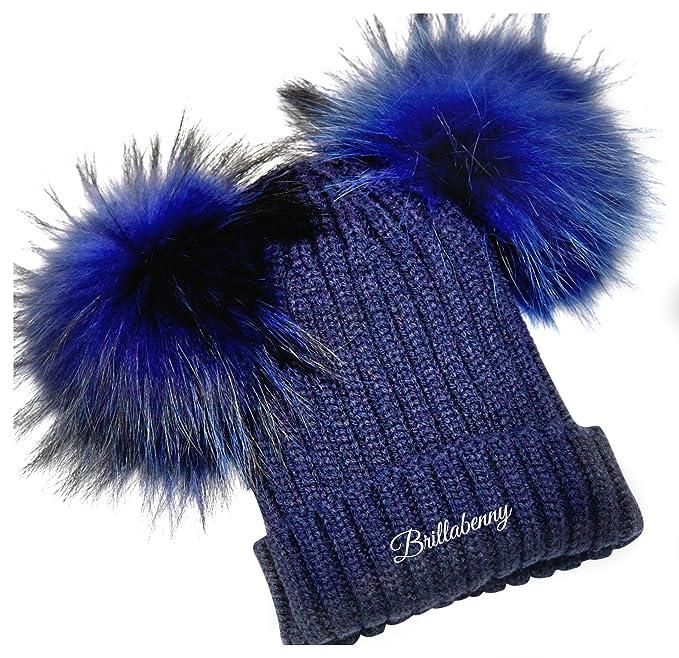 BrillaBenny CAPPELLO CUFFIA BABY BLU NAVY 2 PON PON PELLICCIA (1-3 ANNI)  CAPPELLINO CUFFIETTA CUFFIA LANA Hat Fur Kids Double Poms Luxury Blue   Amazon.it  ... 895049afd253