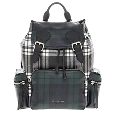 99698cc5e4db Burberry Unisex Leather Trim London Check Backpack Green