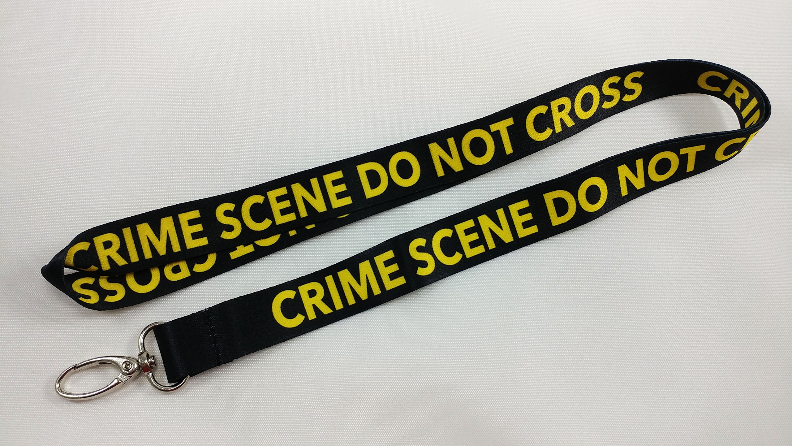 Crime Scene Do Not CrossBlack Lanyard with clip for keys or id badges. Great for work id badge, school id badge, car keys, house keys. Perfect for CSI fans, forensic students. (50)
