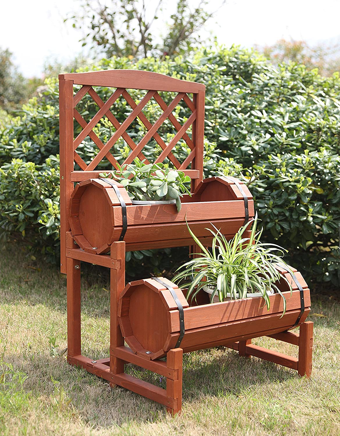 Amazon.com : Convenience Concepts 2-Tier Plant Stand, Chinese Fir ...
