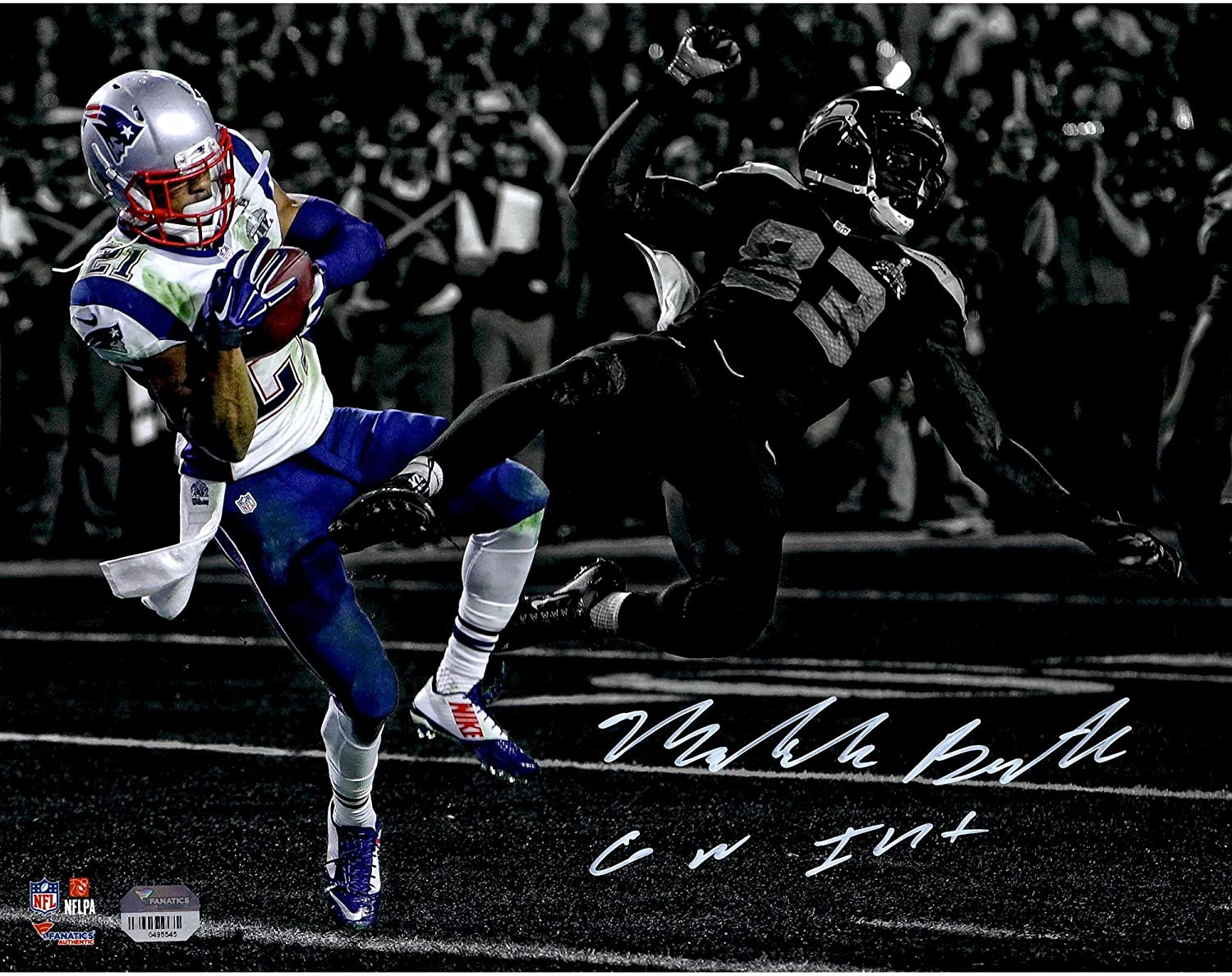 Malcolm Butler New England Patriots Autographed 11' x 14' Super Bowl XLIX Game-Winning Interception Front Spotlight Photograph with GW INT Inscription - Fanatics Authentic Certified