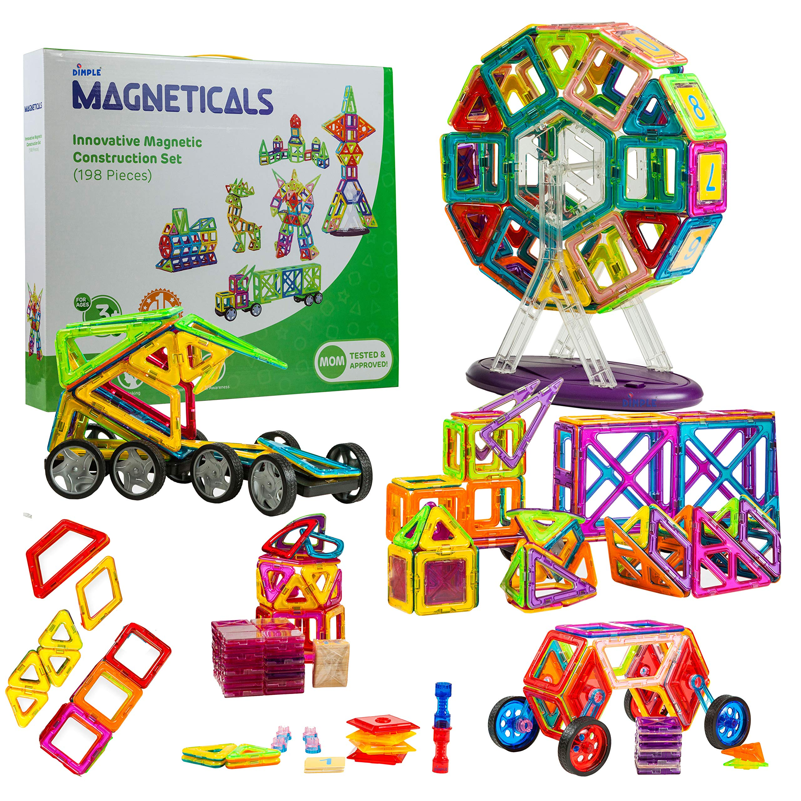 Vaiyer Magneticals 198 Pieces Creative Magnetic Building Blocks Set, 3D Building Construction Tile Set, STEM Educational Toy, Improve Hand-Eye Coordination, Toy for Girls and Boys for All Ages