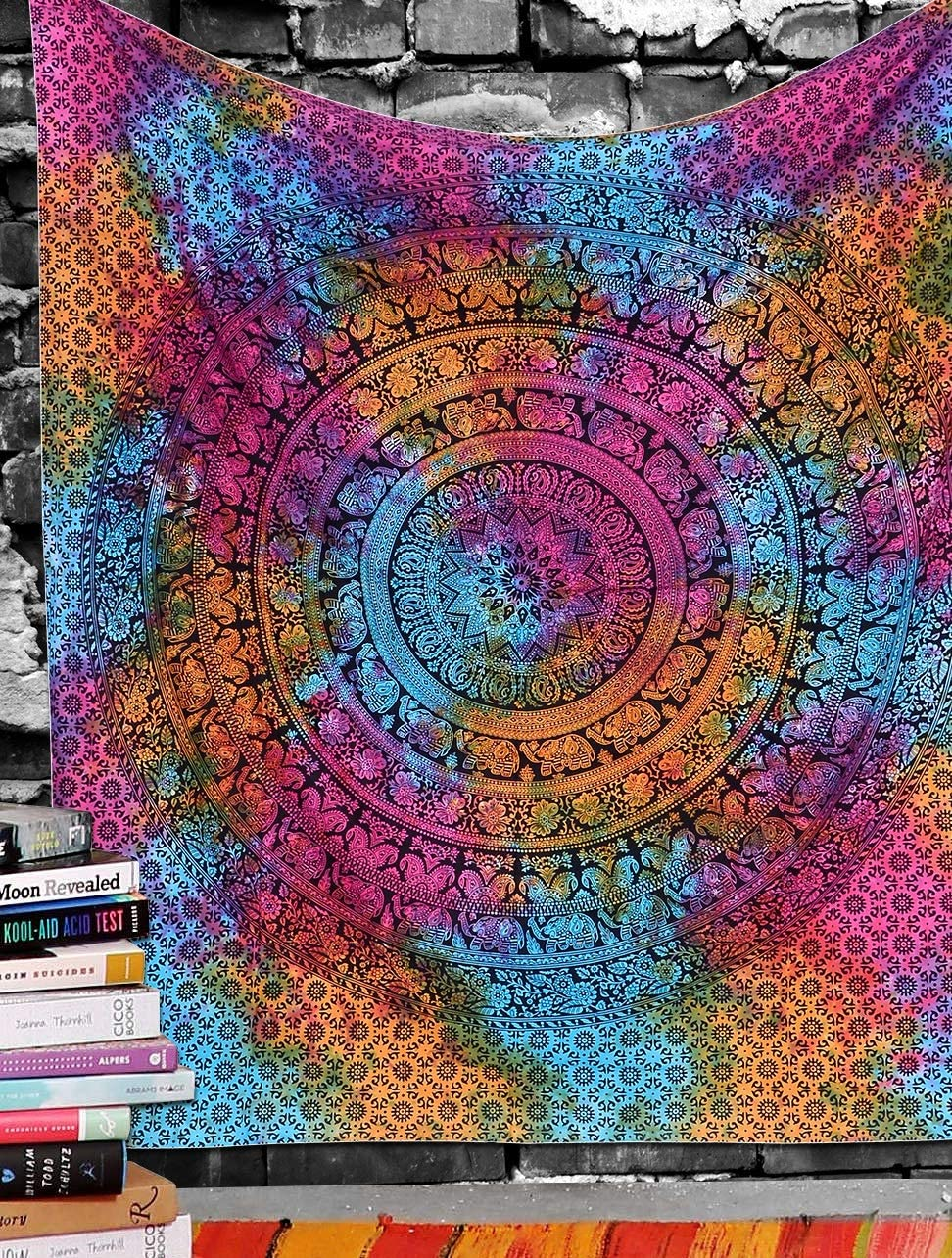 Marubhumi Indian Tapestry Wall hangings Multi Dye Hippie Mandala Tapestry Wall Art Collage Dorm Beach Throw Bohemian Tapestry Wall Decor Boho Bedspread, Twin (85x55 inch, Multi Dye)