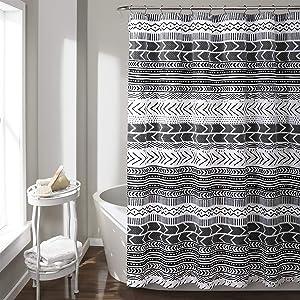 "Lush Decor Hygge Geo Shower Curtain, 72"" x 72"", Black and White"