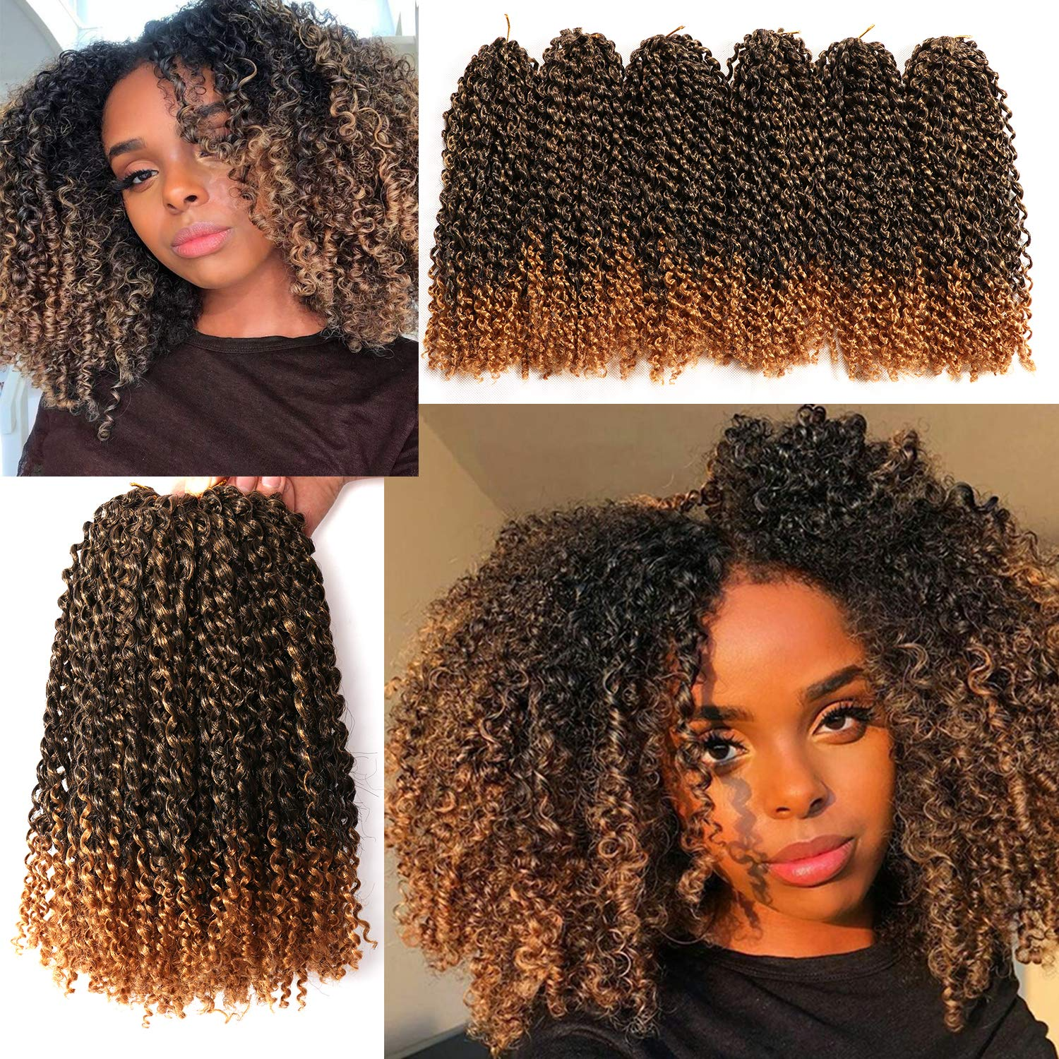 Amazon Com 12 Inch Marlybob Crochet Hair 6 Small Bundles Kinky Twist Crochet Hair Crochet Braids Jerry Curly Crochet Hair Extensions Kinky Curly Crochet Hair Ombre Synthetic Braiding Hair 1b 27 Beauty