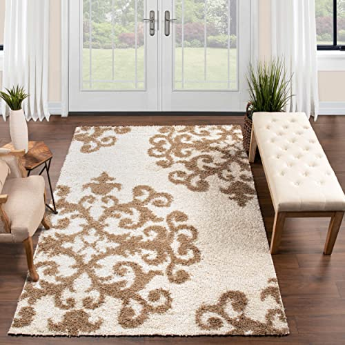 SUPERIOR Hand Tufted Rug Area Rug Shag White-Gold 8' x 10' Home Decor Soft Fluffy Traditional Scrolling Damask Shag Rug
