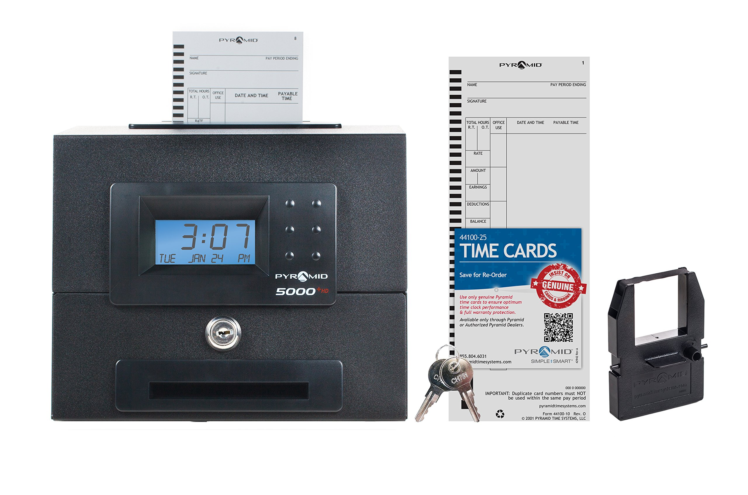Pyramid 5000HD Heavy Duty Steel Auto Totaling Time Clock - Made in the USA