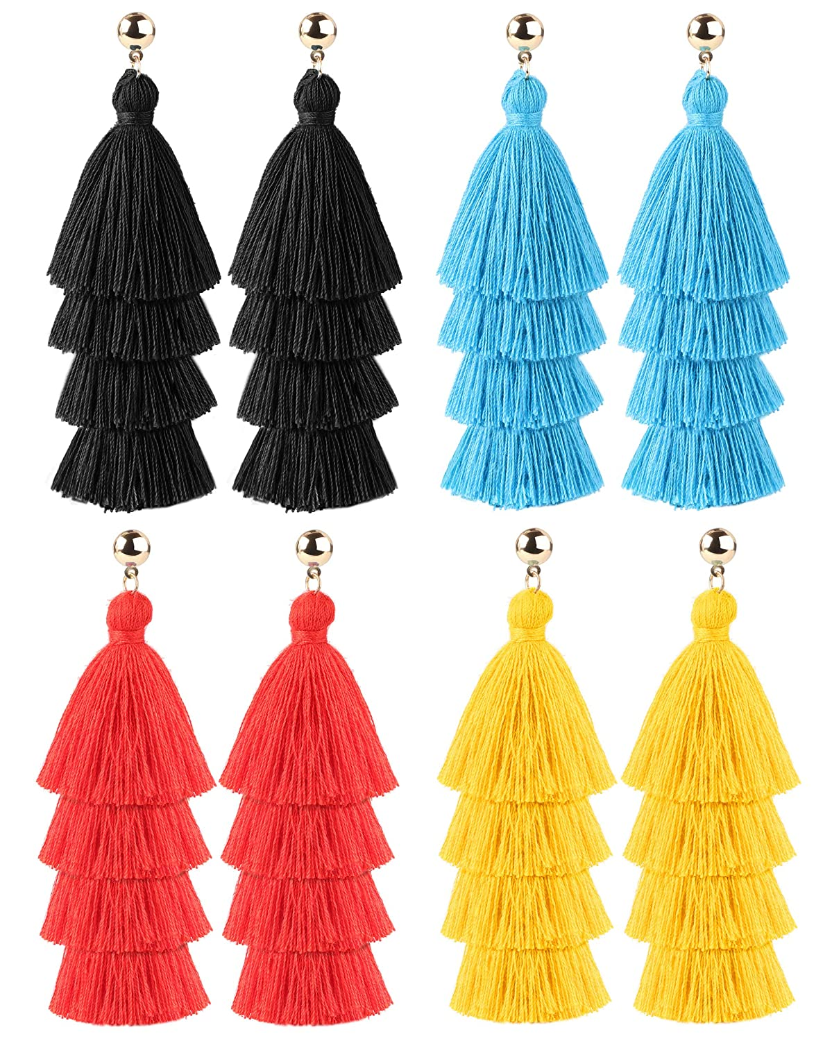 LOYALLOOK 4-6Pairs Tassel Earrings For Women Tassel Earrings Long Thread Tassel Earrings Bohemian Fringe Drop Handmade Earrings LK-M-E0012-4