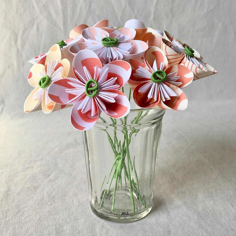 Mini Coral /& White Origami Flower Arrangement