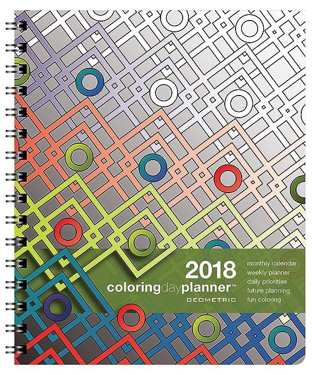 Amazon.com : 2018 Coloring Day Planner Geometric Medium 7 x 8.5 ...