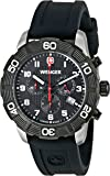 Wenger Roadster Chrono Men's Quartz Watch with Black Dial Chronograph Display and Black Silicone Strap 010853104