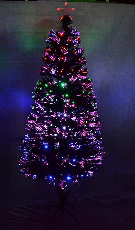 0cd3df3278fa4 Image Unavailable. Image not available for. Colour  6ft 180cm Green Luxury Pre  Lit Multi LED Fibre Optic Christmas Tree Xmas Lights