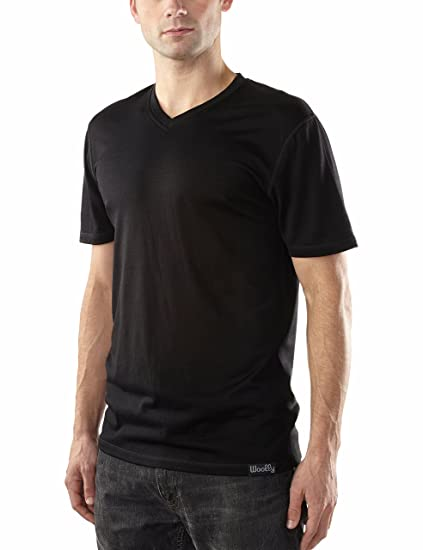 e9b4815d8a29 Woolly Clothing Men s Merino Wool V-Neck Tee Shirt - Everyday Weight -  Wicking Breathable Anti-Odor