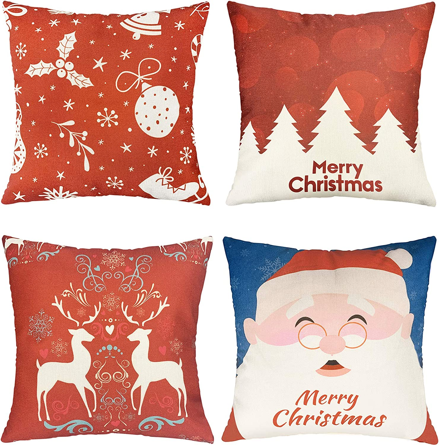 UVOGOM Christmas Pillow Covers 18X18 Set of 4, Decorative Throw Pillow Covers Square Cushion Pillowcase for Sofa Couch Bedroom Car Home Decoration