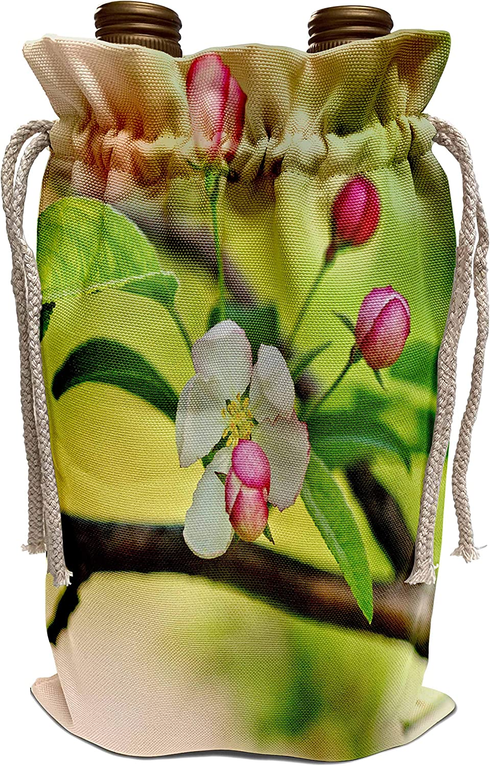 3dRose Alexis Photography - Flowers Crab Apple Blossoms - White crab apple flower, pink buds on a tree twig, green, beige color - Wine Bag (wbg_305605_1)