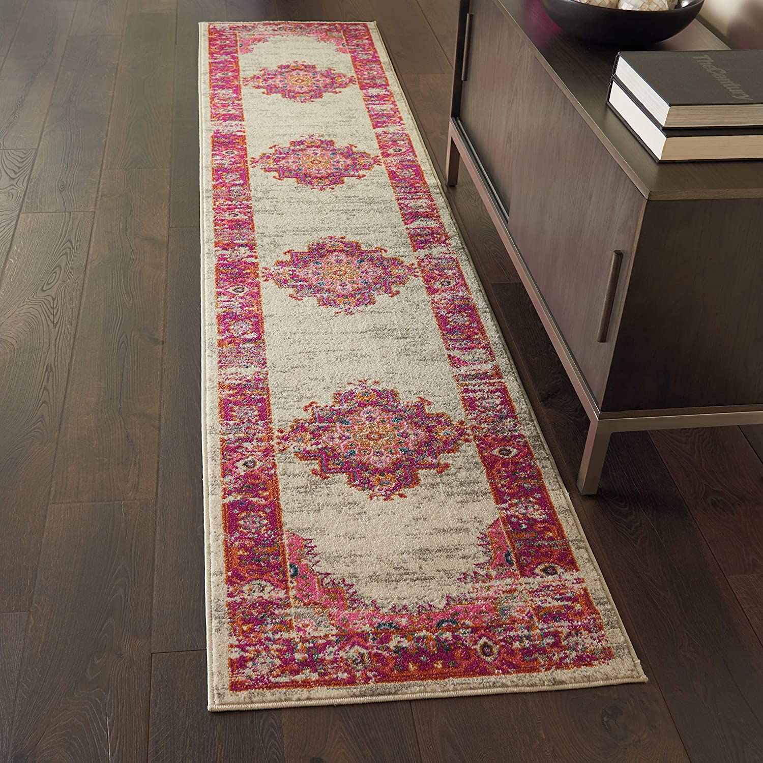 "Nourison Passion Pink and White Vintage Area Rug 2'2"" x 10', 2'2""X10', IVORY/FUSHIA"