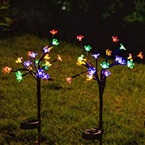 Solar Lights Outdoor Decorative, Outdoor Solar Lights, 2 Pack Solar Garden Lights with Waterproof 2 Mode Color Changing Outdoor Lights - Bigger Solar Panel for Garden Halloween Christmas Decoration