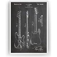 Telecaster Bass Guitar 1953 Patent Print - Póster Con Diseños Patentes Decoración de Hogar Inventos Carteles - Marco No…
