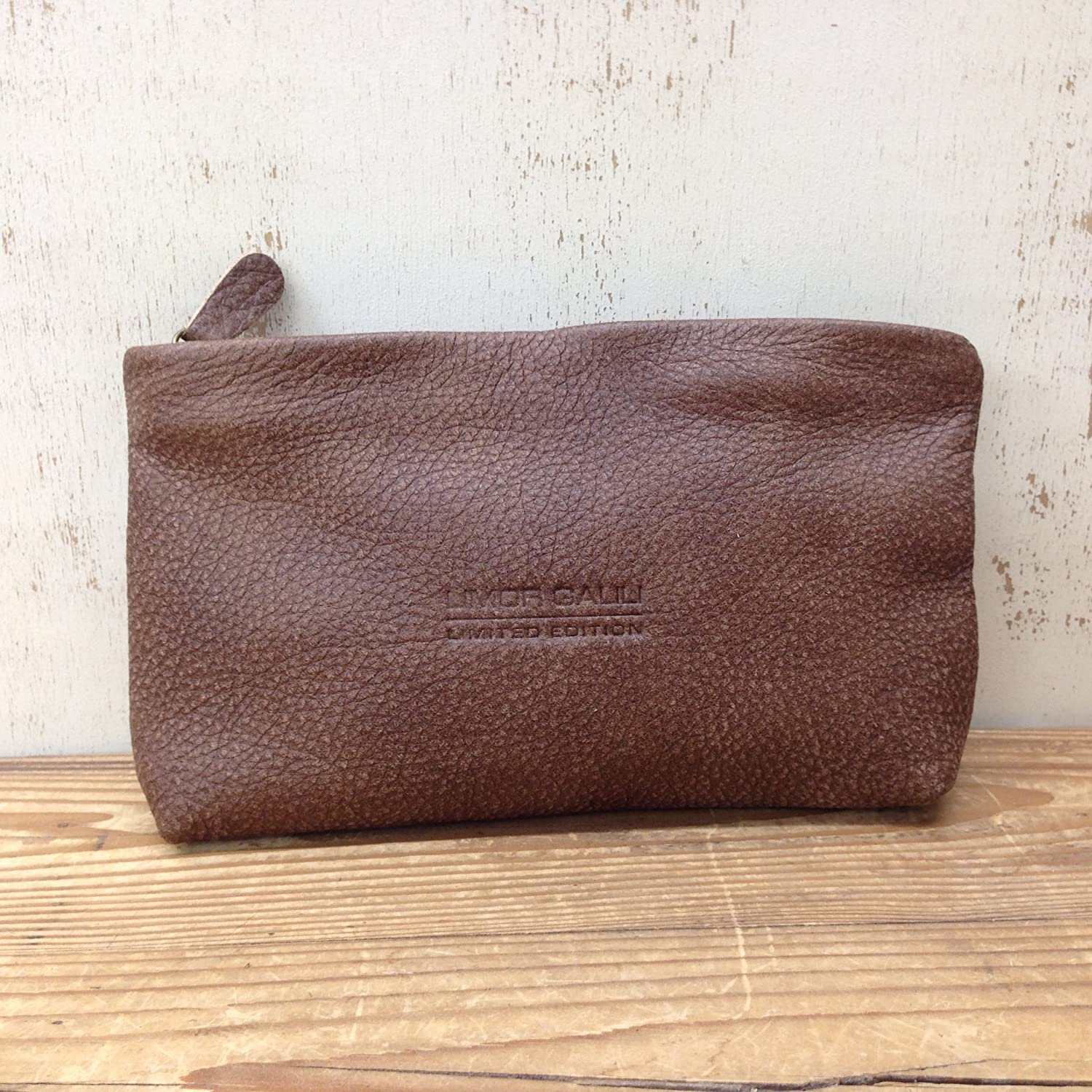 42b6aa76498a Amazon.com  Distressed Brown Leather Pouch Makeup case Medium leather  cosmetic bag women zippered wallet purse  Handmade