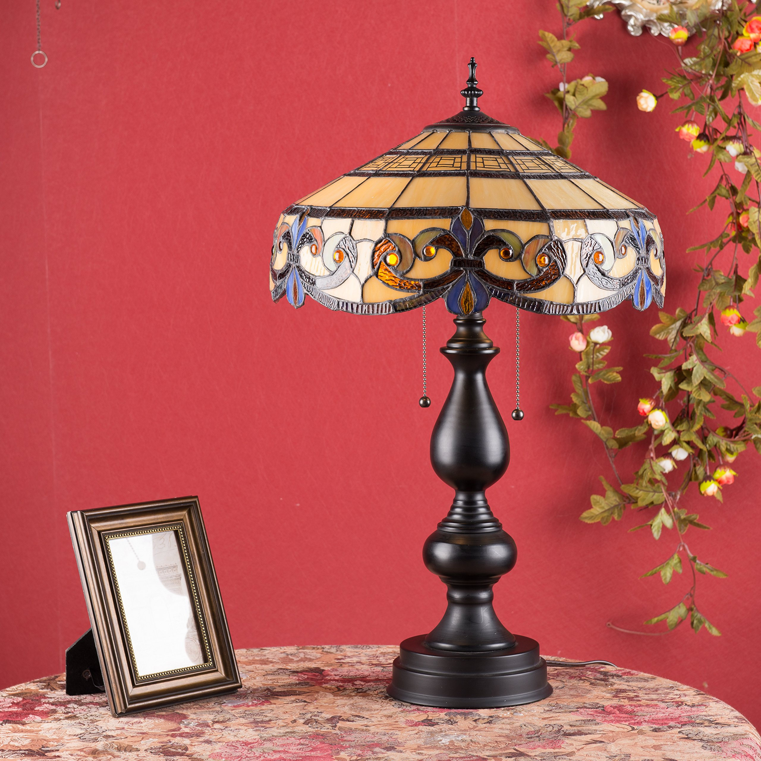CO-Z Tiffany Style Table Lamps, 2-Light Victorian Desk Lamp with 16 Inches Stained Glass Shade, 25.5 Inches Height by CO-Z (Image #1)