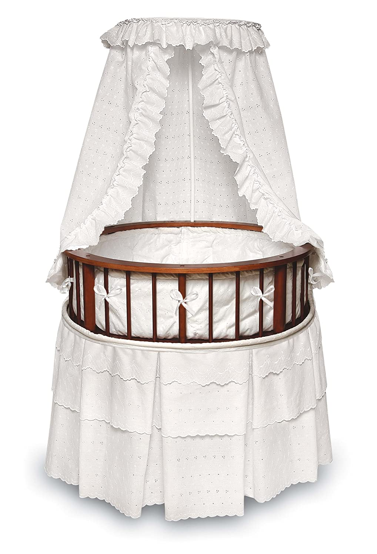 Badger Basket Elegance Round Baby Bassinet, White with White Eyelet Badger Basket Company 00827