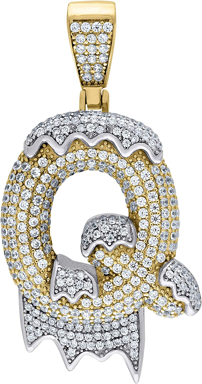 Jewels By Lux 925 Sterling Silver Yellow-Tone Mens Women CZ Dripping Letter Q Charm Pendant
