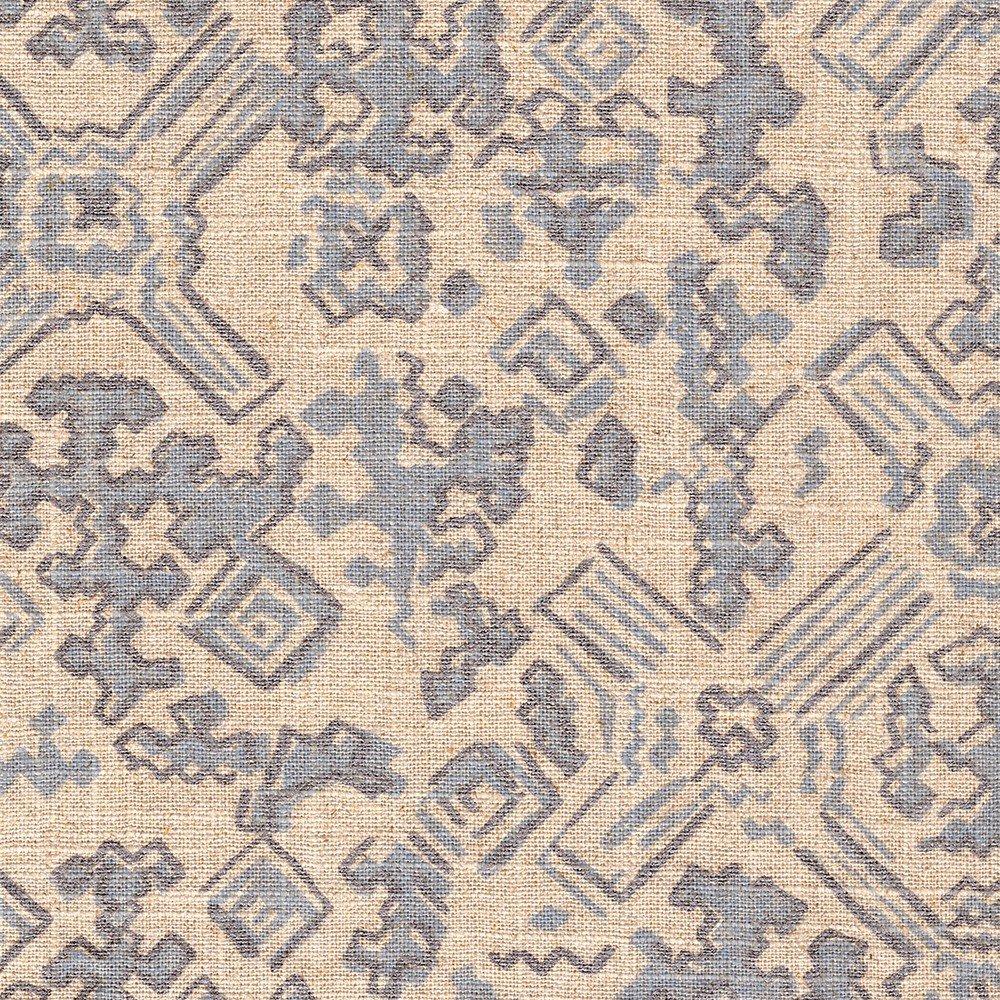 Tailored Bedskirt Nomad Swedish Blue Ashby Pearlized Metallic Tribal Geometric Linen Blend