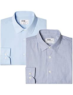 Hem & Seam Slim Fit Gingham, Camisa de Oficina para Hombre, Azul, 46 amazon azul Camisas slim fit