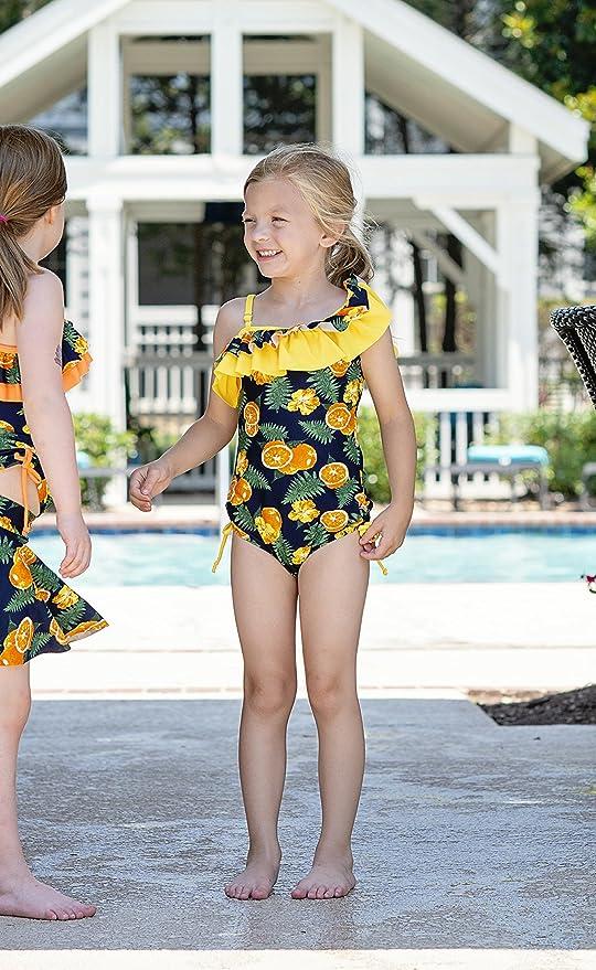 59c1298b59764 Amazon.com  KALAWALK Girls Lemon Double Ruffle One Shoulder Adjustable  Swimwear Fashionable One Piece Bathing Suit(5y-16y)  Clothing