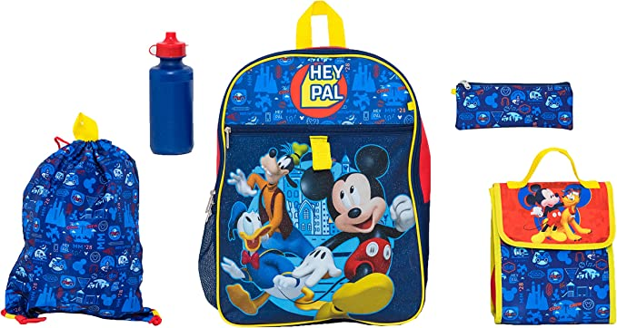 Disney Mickey Mouse Boys School Backpack Lunch Box Book Bag 5 Piece SET Kids