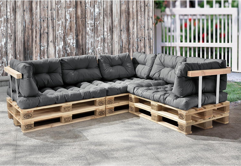 """en.casa® /""""Euro Paletten Sofa/"""" 3x Sitz-//Rückenkissen hell grau Kissen Auflage"""