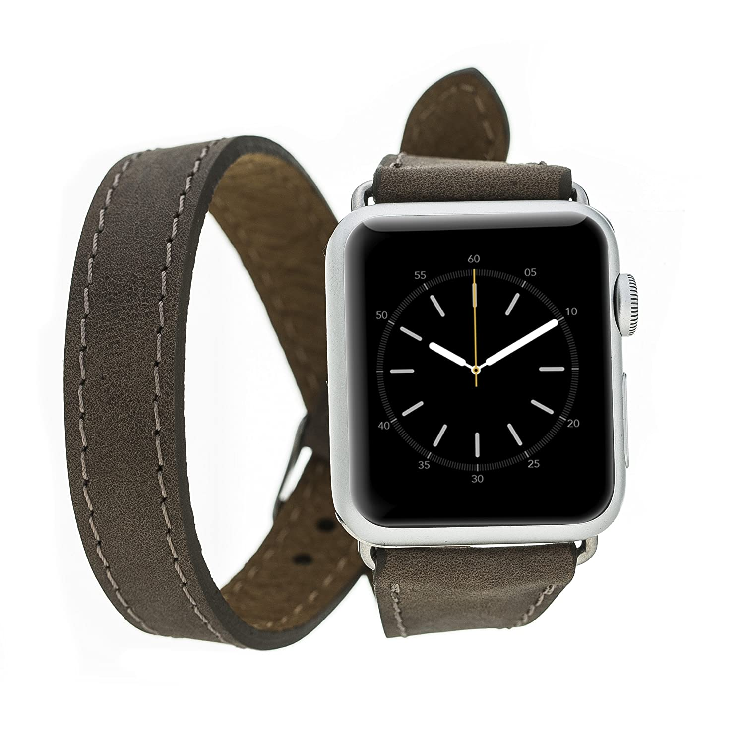 Bluejay Compatible Double Wrap Leather Watch Band for Apple Watch, Slim Double Wrap Design for Apple Watch Series 4 3 2 1 (Bison, 40mm)